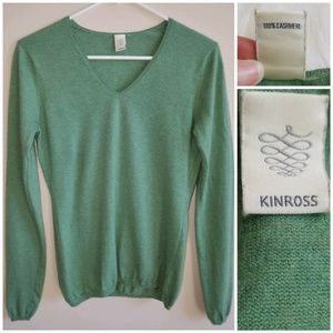[Kinross]100% Cashmere Green V-neck Sweater